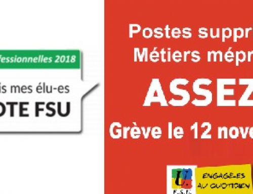 Suppressions de poste dans l'Éducation nationale : en grève le 12 novembre !
